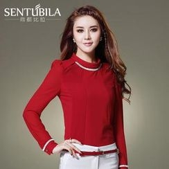 Sentubila - Embellished Mock Neck Chiffon Blouse