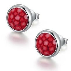 MBLife.com - 925 Sterling Silver Red Shagreen Bezel Setting Round Circle Stud Earrings