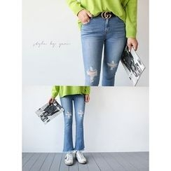 STYLEBYYAM - Distressed Boot-Cut Jeans