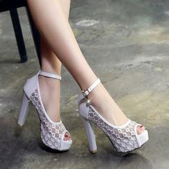 Pastel Pairs - 踝带厚底高跟凉鞋