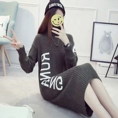 Cotton Candy - Long-Sleeve Lettering Knit Dress