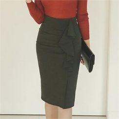 ode' - Ruffle-Trim Pencil Skirt