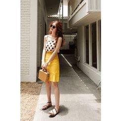 CHERRYKOKO - Linen Blend A-Line Mini Skirt