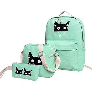 Sweet City - Set of 3: Cat Print Backpack + Shoulder Bag + Zip Pouch