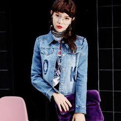 Romantica - Lettering Buttoned Denim Jacket