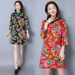 Diosa - Floral Print Linen Cotton Elbow-Sleeve Short Cheongsam