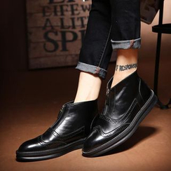 NOVO - Zip Front Brogue Ankle Boots