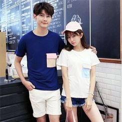 Azure - Couple Matching Color Block Pocket T-Shirt