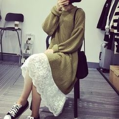 PopCult - Plain Lace Overlay Tank Dress