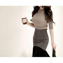 Marlangrouge - Mock-Neck Short-Sleeve Knit Top