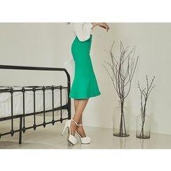 UUZONE - Ruffle-Hem Slit-Side Skirt