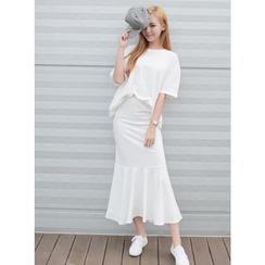 BBAEBBAE - Set: Plain T-Shirt + Maxi Skirt