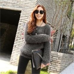 PIPPIN - Round-Neck Furry-Knit Top