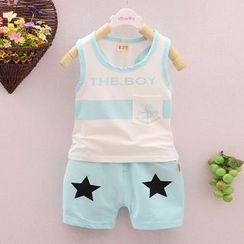 POMME - Kids Set: Lettering Tank Top + Star Print Shorts