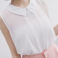 Tokyo Fashion - Lace Trim Sleeveless Chiffon Blouse