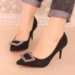 IYATO - Embellished Buckle Pointy Pumps