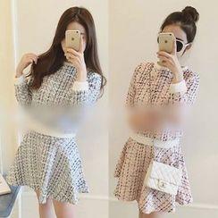 QZ Lady - Set: Plaid Knit Top + A Line Skirt