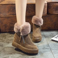 IYATO - Furry-Trim Wedge Ankle Boots