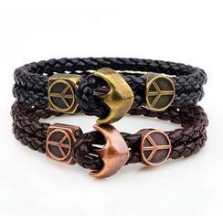 KINNO - Faux Leather Woven Bracelet