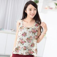 59 Seconds - Floral Print Sleeveless Top