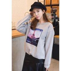 migunstyle - Round-Neck Printed Pullover