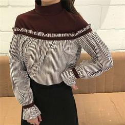 Bloombloom - Pinstripe Puff-sleeve Panel Long-Sleeve Top