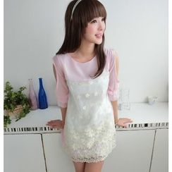 59 Seconds - 3/4-Sleeve Embroidered Dress