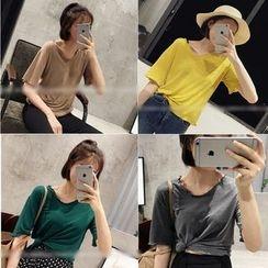 QZ Lady - Elbow-Sleeve Plain T-Shirt