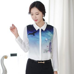 Lovebirds - Long-Sleeve Printed Chiffon Shirt
