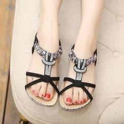 Parkwalker - Embellished Thong Sandals