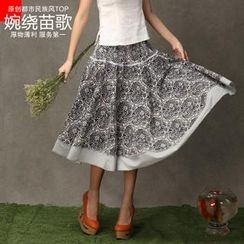 Floral Elegance - Printed A-Line Midi Skirt