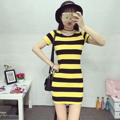 Sienne - Striped Short Sleeve Dress