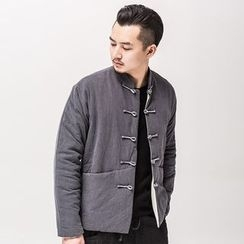 Ashen - Chinese-Style Frog-Button Padded Coat