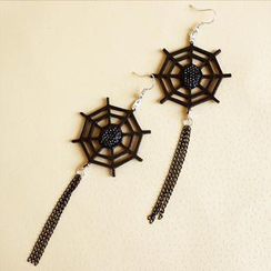Fit-to-Kill - Leather Spider Web Earrings