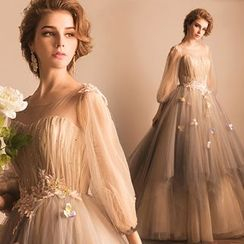 Angel Bridal - Puff-Sleeve Applique Tulle Evening Dress