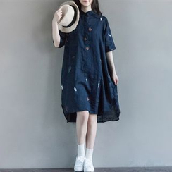Snow Flower - Elbow-Sleeve Linen Dress