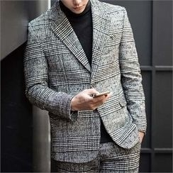 STYLEMAN - Wool-Blend Single-Breasted Check Jacket