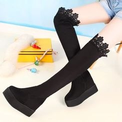 TALLY - Lace Trim Over-the-Knee Platform Boots