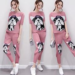 Ashlee - Set : Dog Printed Short-Sleeve T-shirt + Pants