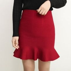 Florie - Ruffled Pencil Skirt