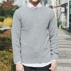 MITOSHOP - Crew-Neck Wool Blend Knit Top