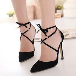 Monde - Lace-Up Pointy Stilettos