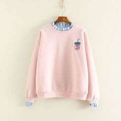 Mushi - Frill Trim Fleece-lined Sweatshirt