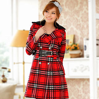 JK2 - Faux Fur Double-Breasted Plaid Coat