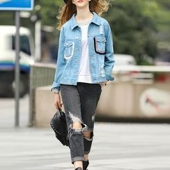 S. Tornado - Distressed Paneled Buttoned Denim Jacket