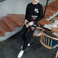 Danjieshi - Set: Printed Sweatshirt + Sweatpants