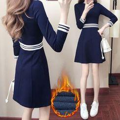 EFO - Long-Sleeve Contrast-Stripe A-Line Dress
