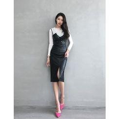 GUMZZI - Set: Faux-Leather Dress + Top
