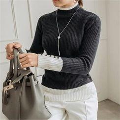 JOAMOM - Mock-Neck Color-Block Knit Top