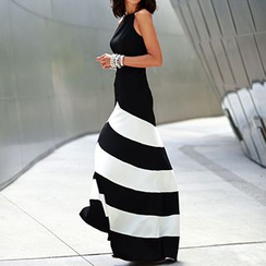 Fashion Street - Halter Neck Striped Hem Maxi Dress